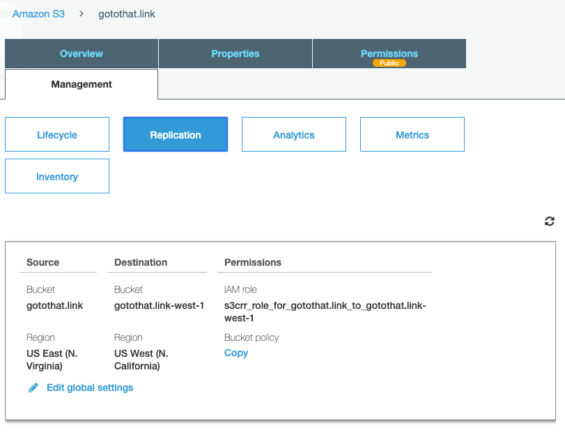 S3 management console - replication settings page